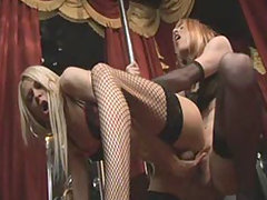 Gorgeous TGirls Zoe and Karla give you a pole dance show with a bit of sucking and fucking